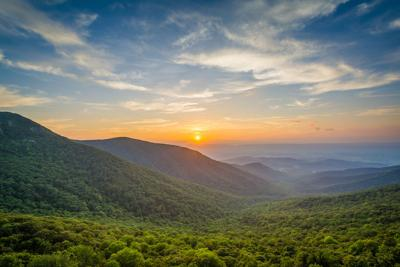 Sunset over the Shenandoah Valley and Blue Ridge Mountains from Crescent Rock, in Shenandoah National Park, Virginia