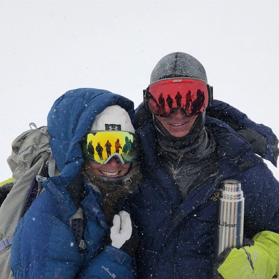 A photo of Andrew Hamilton and Andrea Sansone taken after Hamilton finished summiting all of Colorado's fourteeners in a single winter season, ending on Quandary Peak. Courtesy photo via Gazette.
