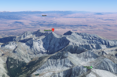 The red pin in this image marks Blanca Peak. The grey pin found to the front left from Blanca shows a point on Gash Ridge, which can be seen leading to the summit. The point to the front right of the Blanca Peak point is Ellingwood Point, another popular fourteener. Image courtesy: @2021 Google Maps.