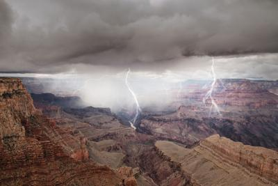 View of Grand Canyon on clouds background