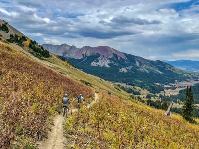 Two riders cruise down the upper portion of 401 trail in Crested Butte. Photo Credit: Spencer McKee