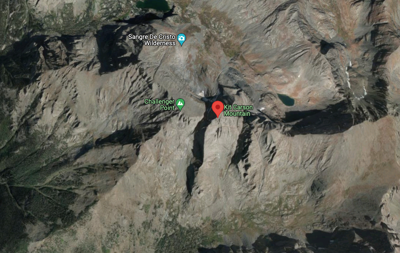 This image shows the proximity of Challenger Point and Kit Carson Peak. Most climbers will summit Challenger Point first, moving down across a saddle and back up to the Kit Carson summit before returning back over Challenger Point. The route the missing climber was using has not been released. Map Credit: @2021 Google Maps.