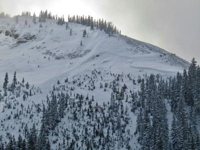 Photo: Colorado Avalanche Center. Site of a fatal accident where a ski patroller was buried in an avalanche.