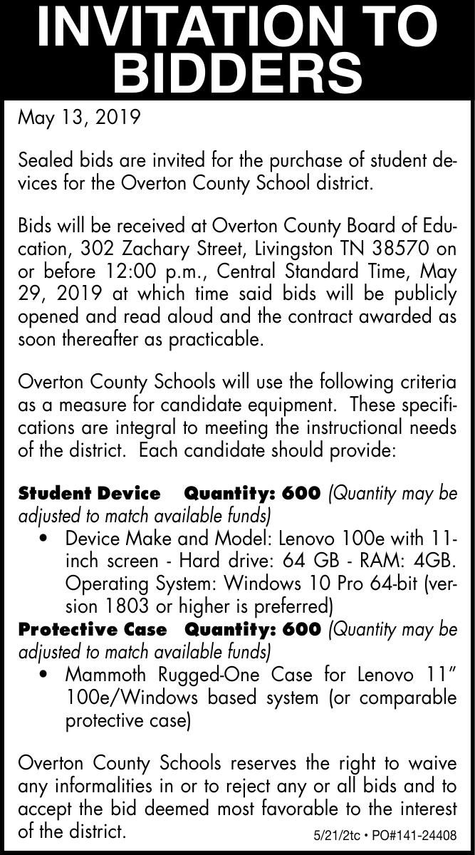 Overton County Board Of Education Bids For Chrome Books