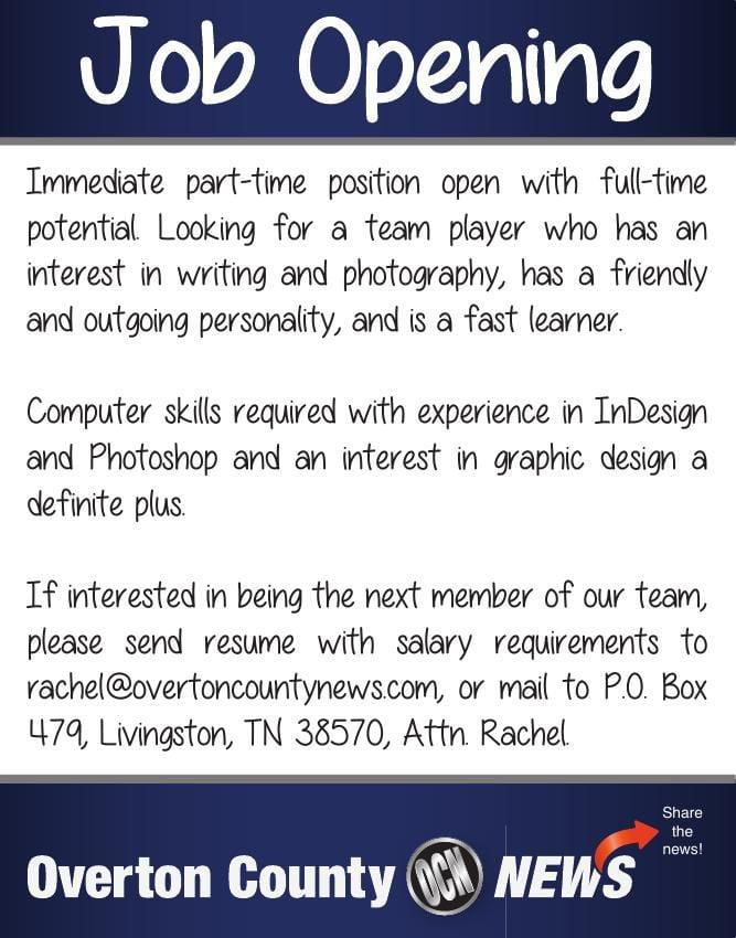 Overton County News Job Opening