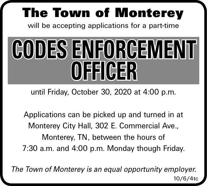 The Town of Monterey Accepting Applications