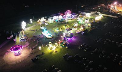 Family Night at the 2021 Overton County Fair as seen from above