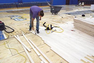New LA gym floor installation begins