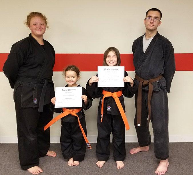 Orange belts earned at Team Hunter Karate