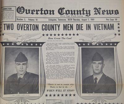 50 years ago in Overton County News August 1, 1969