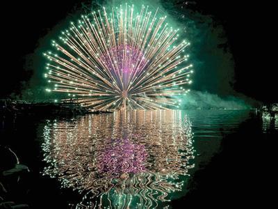 Fireworks shake the lake