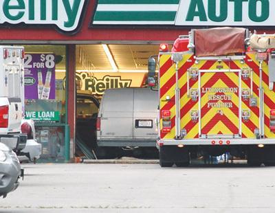 Van crashes into parts store
