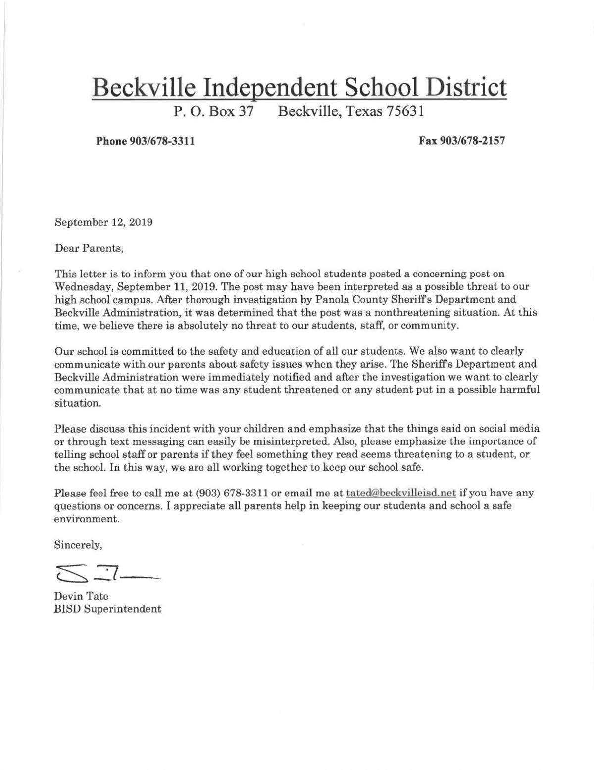Devin Tate Letter to Parents