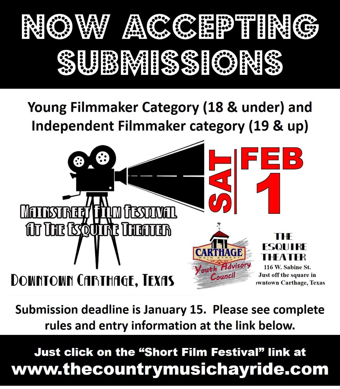 Mainstreet Film Festival accepting submissions through Jan. 15