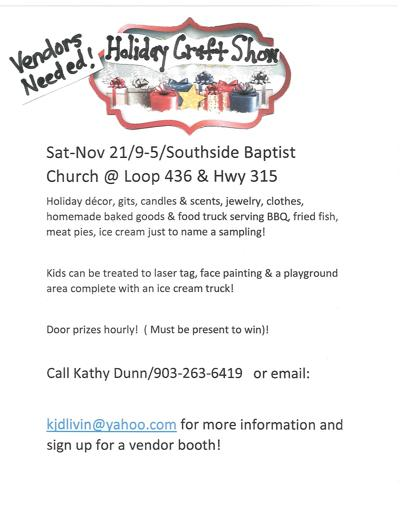 Southside Baptist Church in Carthage plans holiday craft show