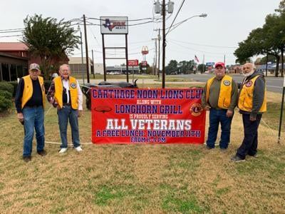 Carthage Noon Lions Club, Longhorn Grill serve lunch to veterans