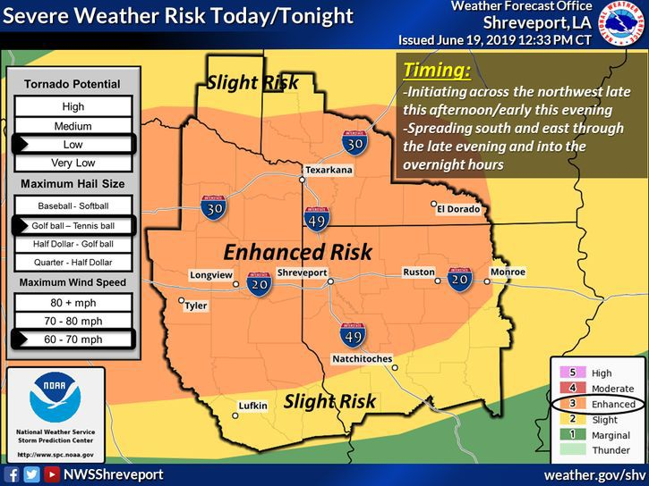 "National Weather Service increases weather threat to ""enhanced"" for Panola County"
