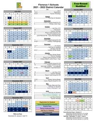 2021-2022 Year Round Calendar Florence F1S 2021 2022 Modified Year Round Calendar Approved