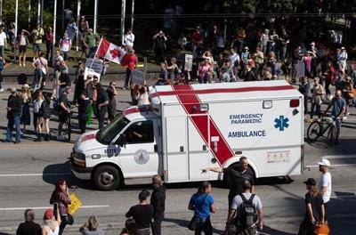 'It's terrifying': Police on hand as pandemic protesters picket hospitals