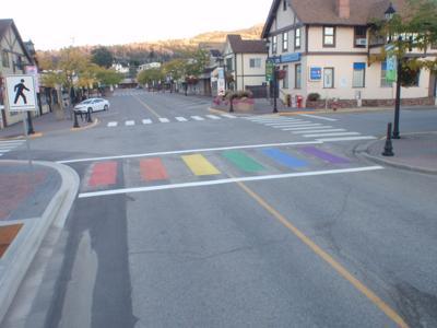 Rainbow crosswalk installed