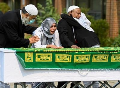 Hundreds of mourners honour man stabbed to death outside Toronto mosque
