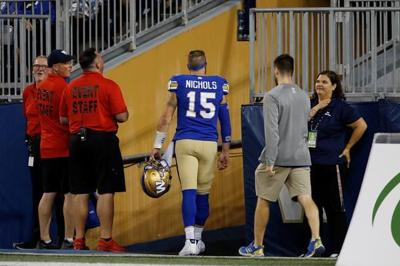 Bombers QB Nichols leaves game in fourth quarter with apparent injury