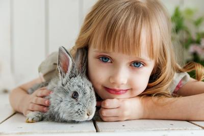 Girl hugging Rabbit