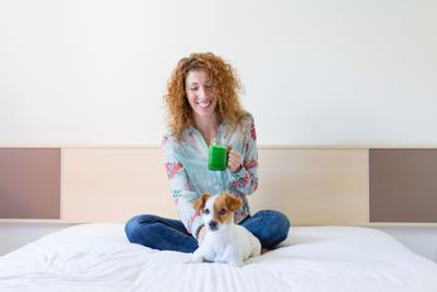 Shutterstock, dog and woman