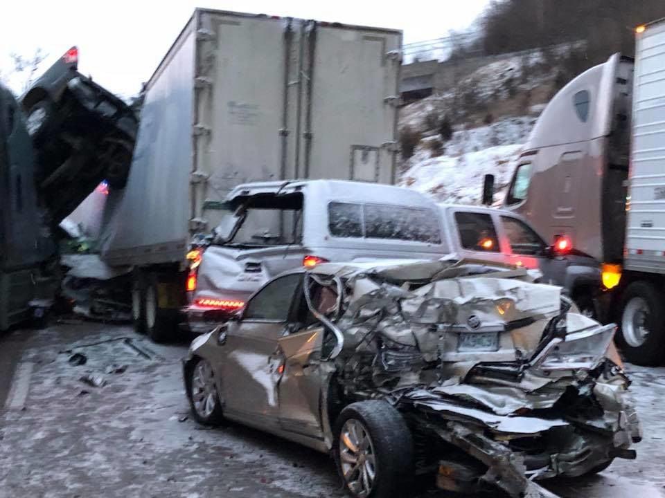 Sunday pileups leave 15 people injured, highway patrol confirms