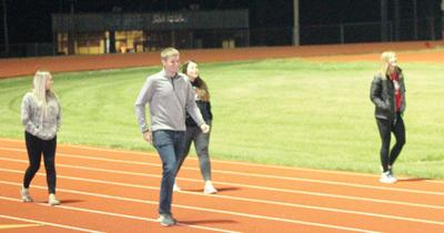 Students walk the track