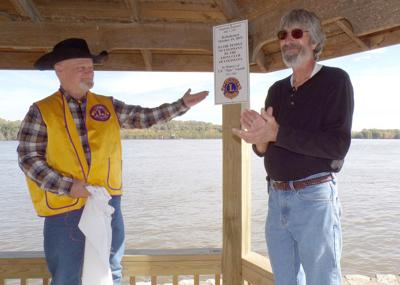 Joe Asquith and Tim Reeve in Lions riverfront gazebo