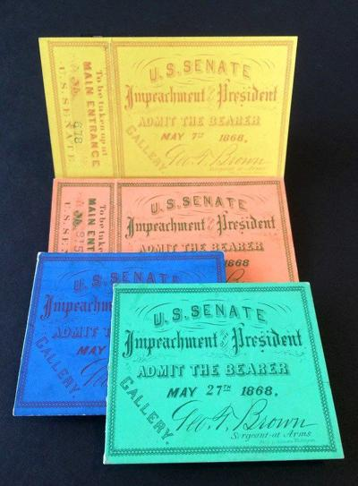 Tickets for seats in the Senate gallery during President Johnson's impeachment, color-coded by date. Photo courtesy National Park Service