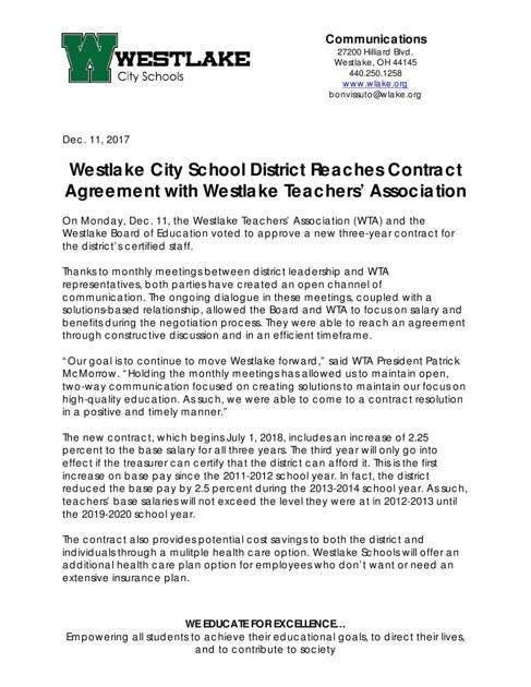 Westlake Teachers School Board Agree To ThreeYear Contract  News