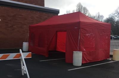 COVID-19 testing tent at WOU