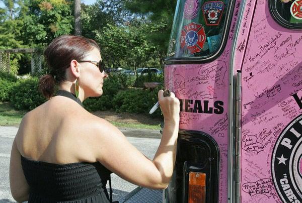 Pink firetrucks visit North Charleston to raise awareness for women's cancers