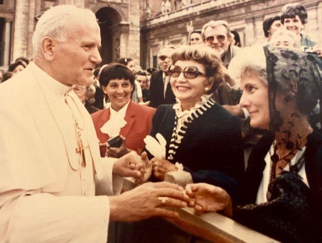 Helen O'Hagan and Claudette Colbert greet Pope John Paul II