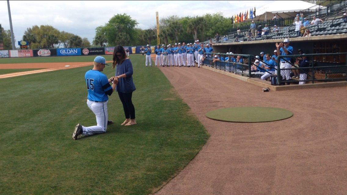 Citadel pitcher Zach Sherrill hits home run with on-field proposal