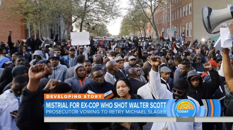 Today show image from Baltimore in segment about Slager mistrial