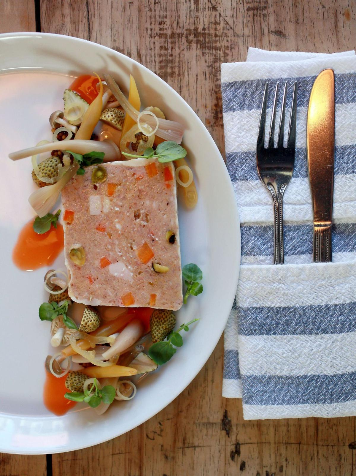 Rabbit terrine incorporates chicken, pork fat and a variety of spices