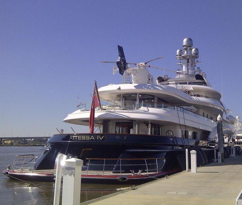 Billionaires Attessa IV And Its Helicopter One Of Many Huge Yachts At Charlestons MegaDock