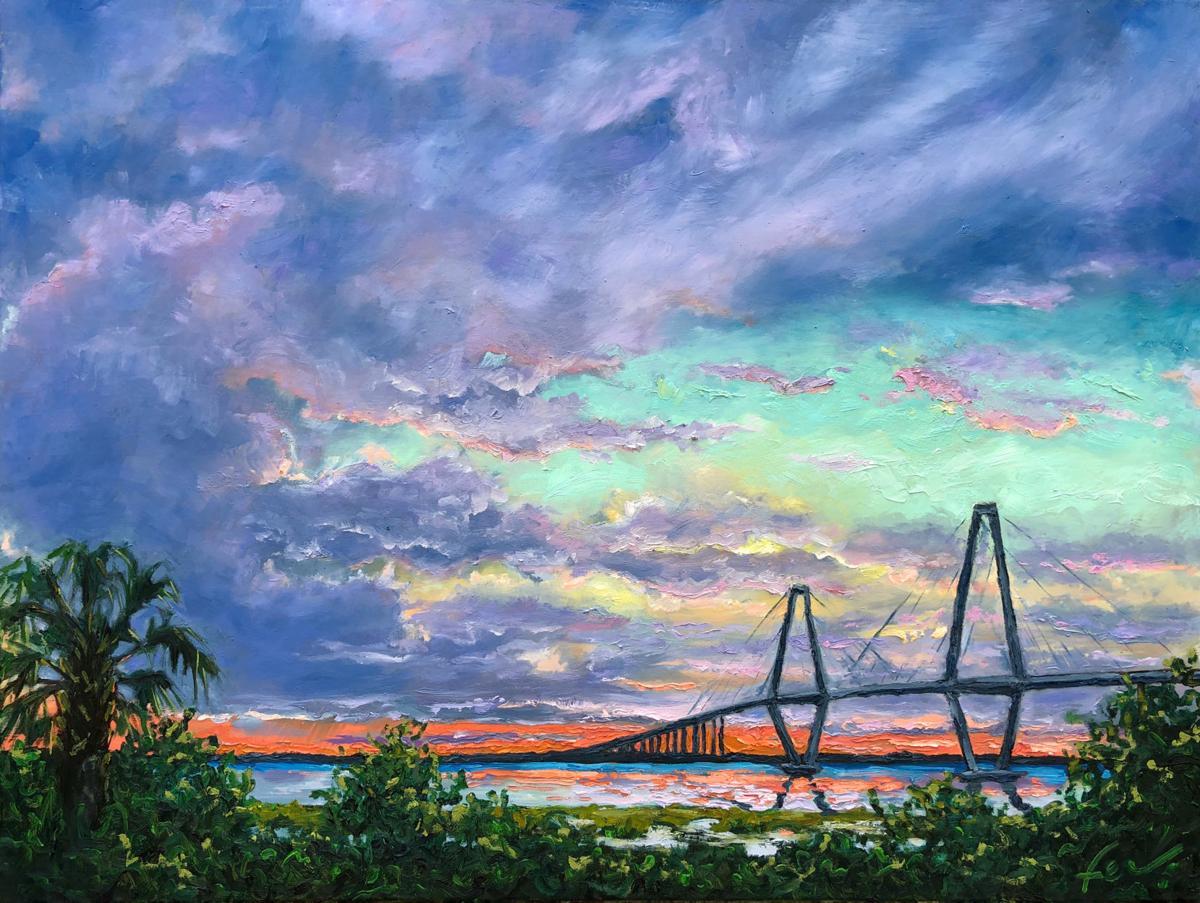 """Sunset Over Ravenel Bridge"""