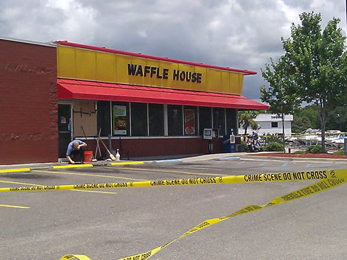 Gun battle at Waffle House leaves one dead, another seriously injured