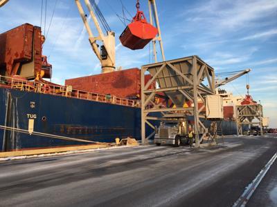 Salt being unloaded from the Genco Ocean in North Charleston