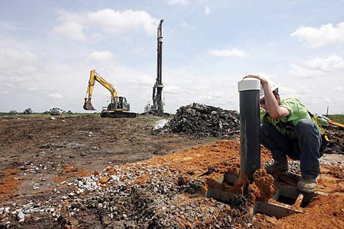 Drilling for methane in the county landfill