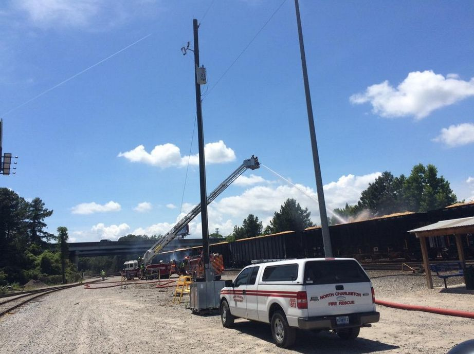 North Charleston crews battle flames at CSX yard