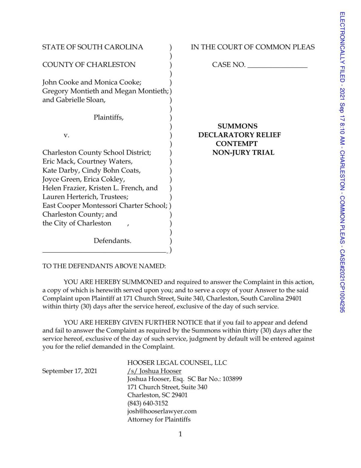 Lawsuit against Charleston County District Schools