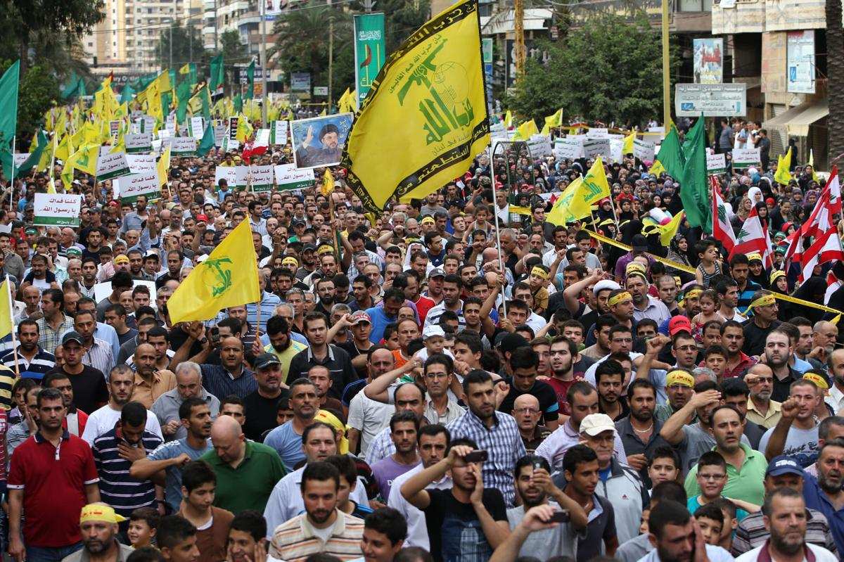 Hezbollah leads large protest