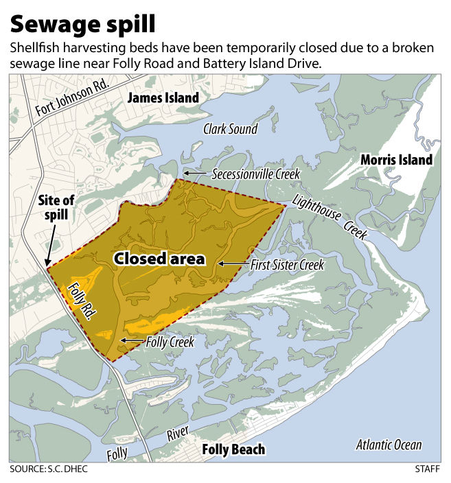 Sewage spills into marsh