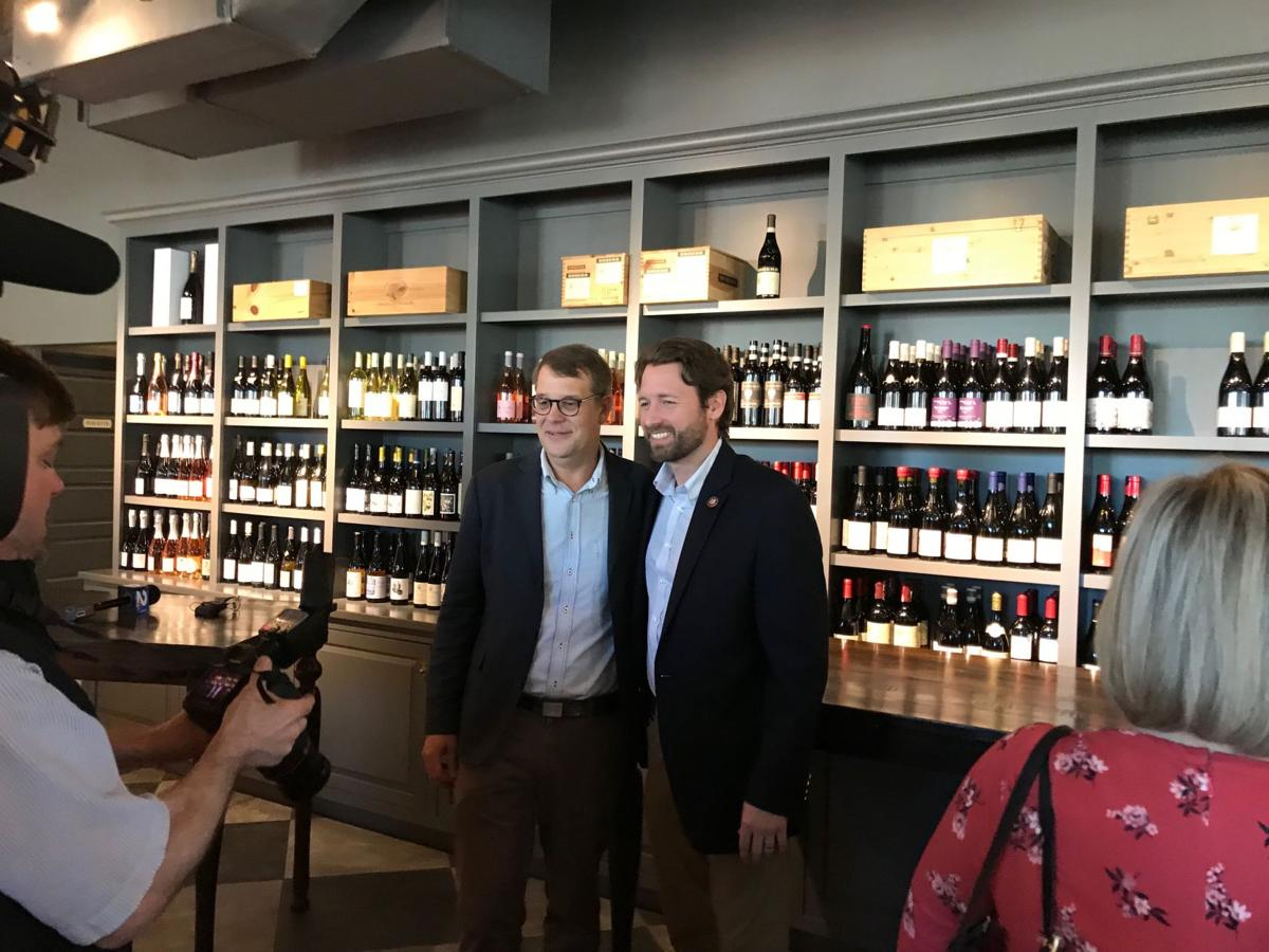 Wine importer Harry Root with US Representative Joe Cunningham