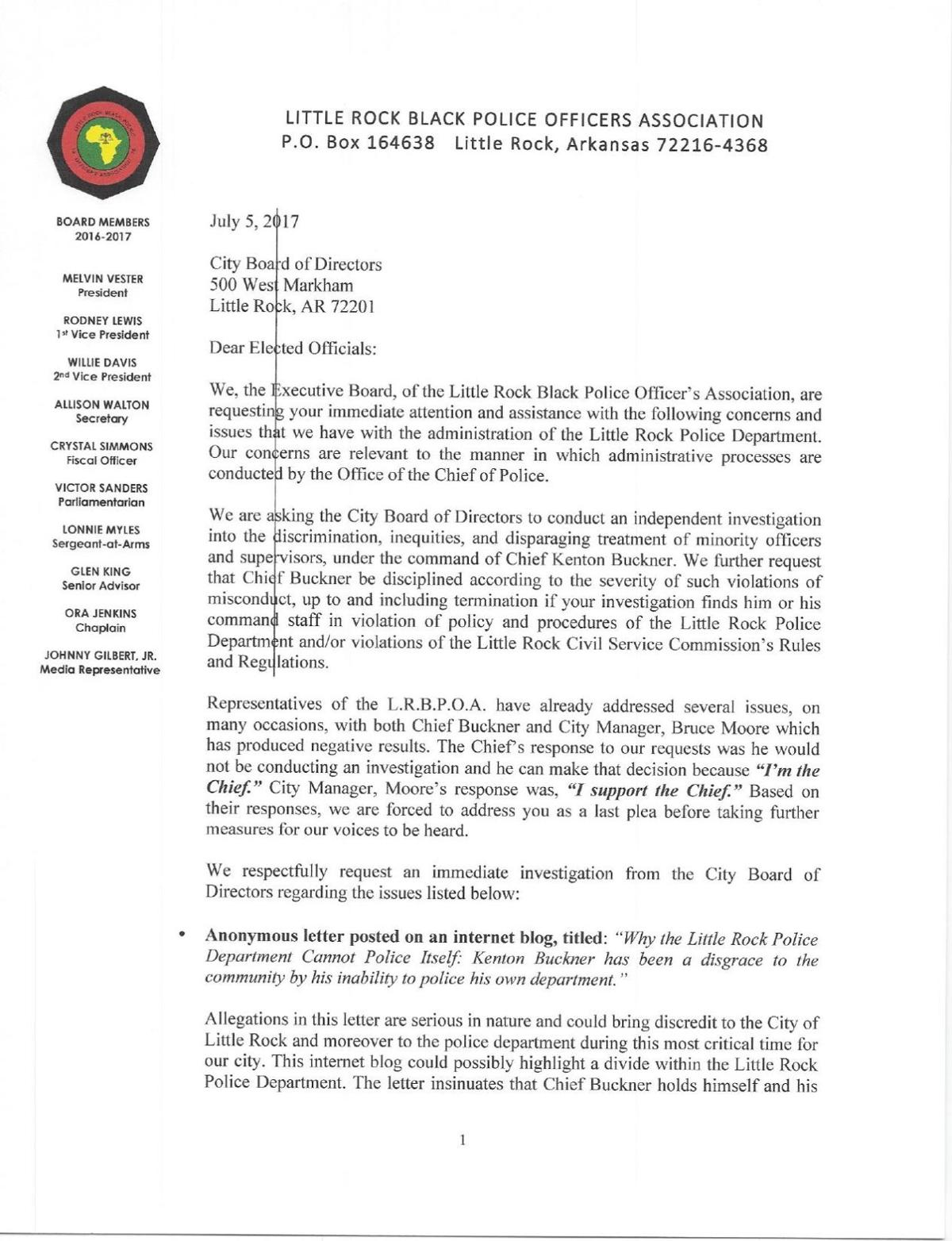 Complaint about Little Rock police chief